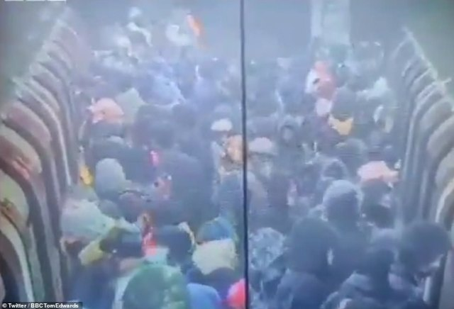 The footage was filmed at Canning Town station in east London, which is seen as a bottleneck due to the large number of builders and other key workers who live locally and depend on the Tube to travel to work in the city centre.TfL said there was also a service issue at the station this morning