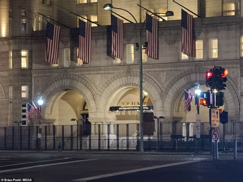 An unscalable fence has now been erected around the Trump International Hotel just a few blocks away from the White House