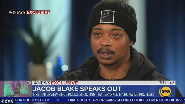 Jacob Blake, the 29-year-old black man who was shot seven times by a white police officer, has recalled the moment he was gunned down in front of his children, in his first interview since the shooting
