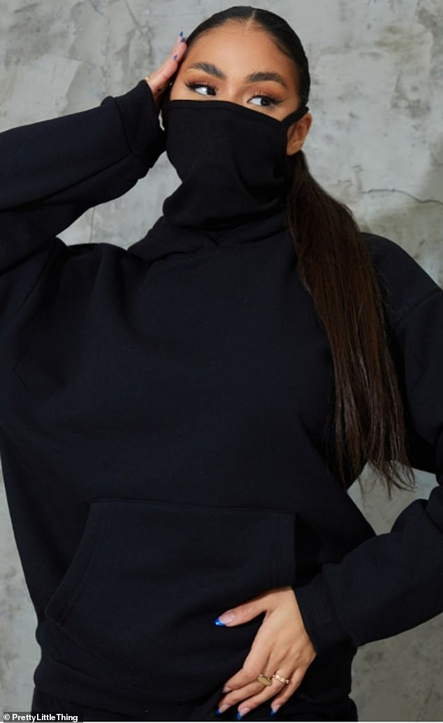 PrettyLittleThing has launched a hoodie with face mask already attached - and it costs just £11 (pictured)