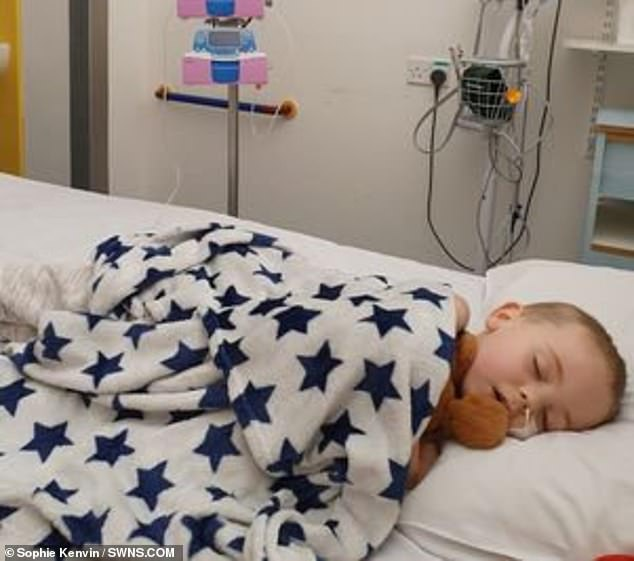 Jaxson (pictured) was taken to the Bristol Royal Hospital for Children where he was diagnosed on November 25