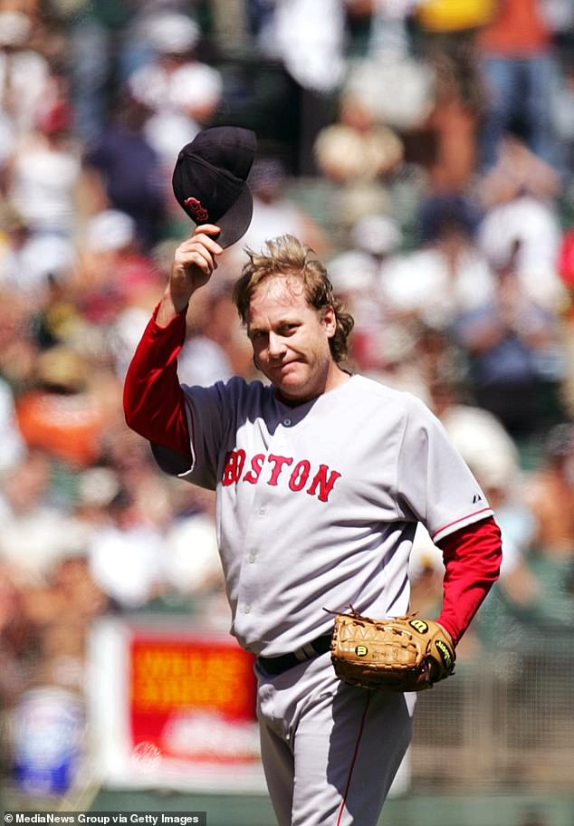 Schilling is currently up for baseball's Hall of Fame after helping the Red Sox win the World Series in 2004 and 2007. He is pictured in 2006