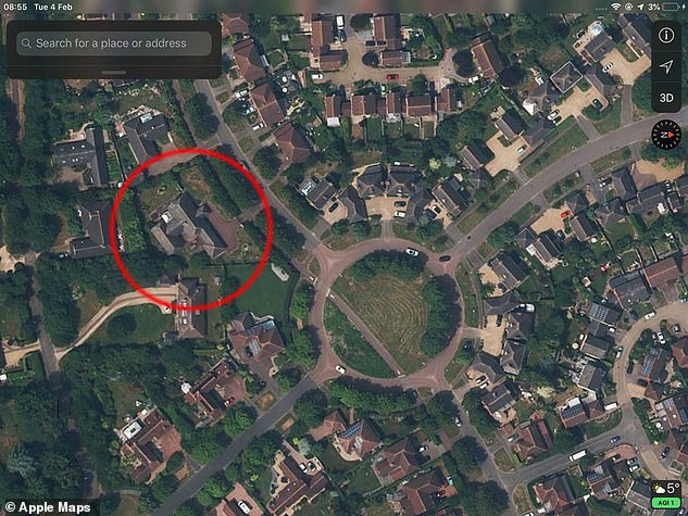 The map above shows the site where the property was built in Milton Keynes