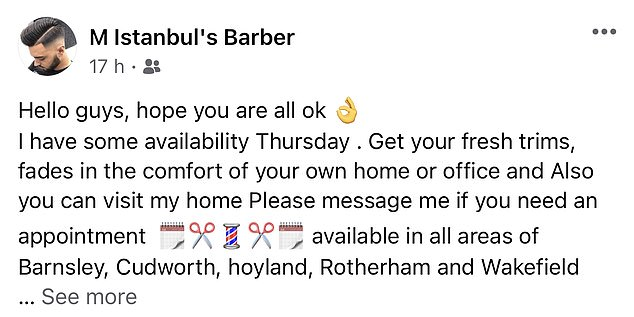 Barbers are defying lockdown rules and continuing to work - offering their services on social media