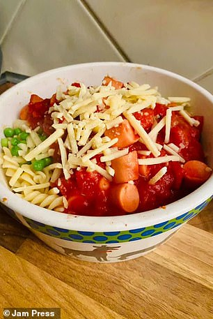 Pasta with hot dogs