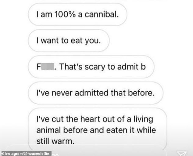 Screenshots of alleged conversations between Hammer and other women have been circulating on social media. Vucekovich said none of the published screenshots were from her conversations with Hammer. Several of the graphic messages refer to cannibalism and blood-sucking