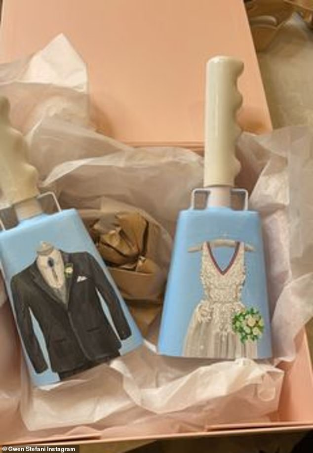 Cute: The show's staff sent her a sweet present of two baby blue cowbells with a black tuxedo painted on one and a white wedding dress on the other