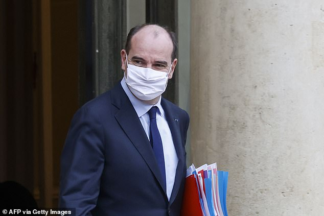 French Prime Minister Jean Castex leaves after attending the weekly cabinet meeting at The Elysee Presidential Palace in Paris on January 13, 2021. Castex said that he was happy to see that citizens were becoming more accepting of the country's vaccination programme