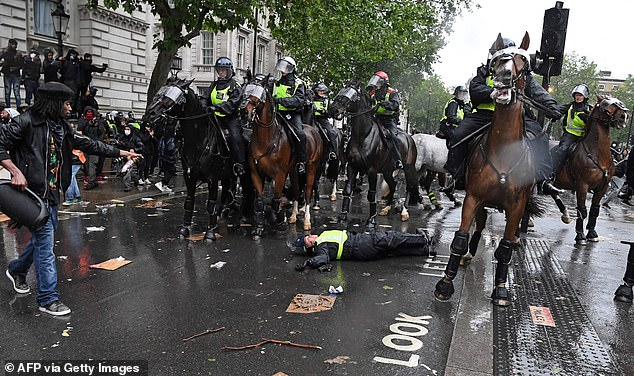 A female police officer was injured in June when protesters hurled projectiles and flares at her horse which bolted and sent her into a traffic light in Whitehall. Pictured: The mounted police officer lay on the road after being unseated from their horse on Whitehall, near the entrance to Downing Street in June