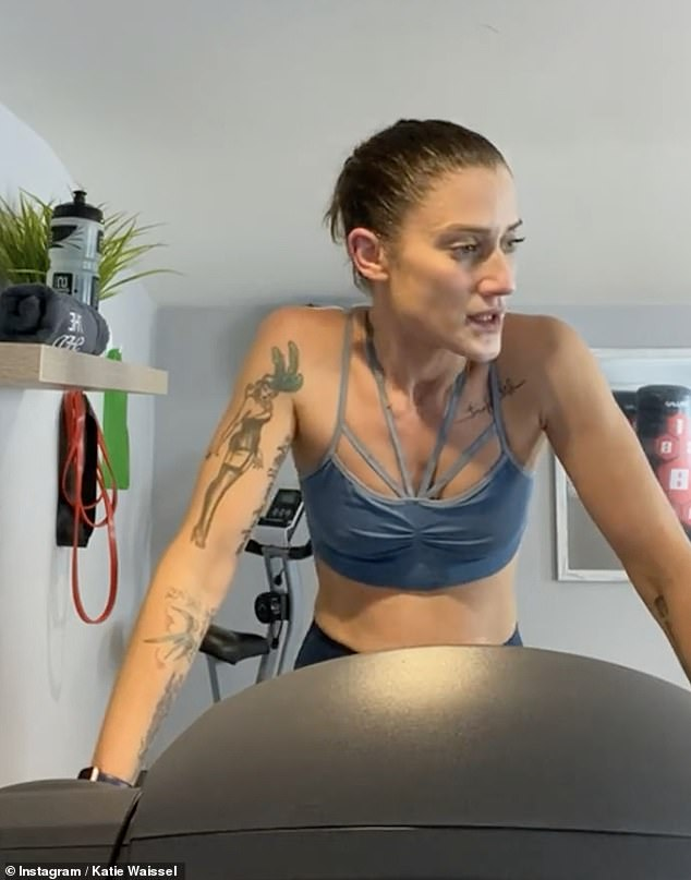 Getting sweaty: She appeared pleased to have got back on the treadmill and told her fans that just because 'we have to slow down, doesn't mean we have to stop'