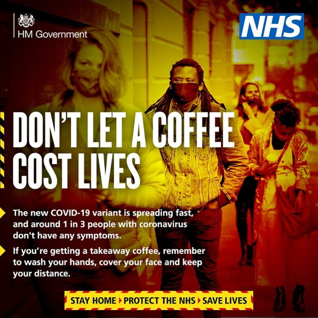 No10 released two new posters this evening, with one showing masked people queuing outside while a caption claims that around one in three people are carrying coronavirus with no symptoms and saying 'don't let a coffee cost lives'