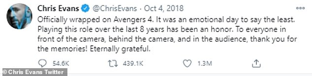 'Thank you for the memories!'The news may come as a surprise to many as he very publicly said goodbye to the character after wrapping Avengers: Endgame in October 2018