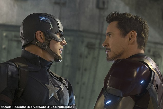 Dynamic duo: Apparently it will likely be closer to what Robert Downey Jr. did after Iron Man 3 as he appeared in Captain America: Civil War (pictured) and Spider-Man: Homecoming