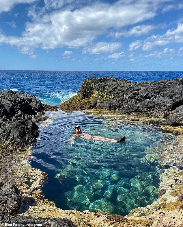 Holiday mode:During their trip, Elsa swam in a crystal clear rock pool, hiked with Chris and enjoyed some kayaking