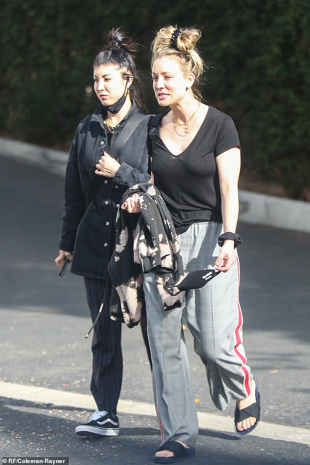 Zen: Kaley Cuoco looked relaxed as she left a spa in Santa Barbara with her younger sister, Briana, by her side