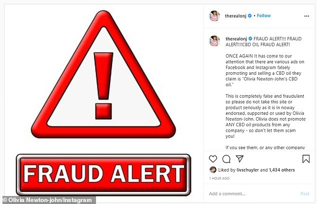 'This is completely false': The 72-year-old shared a post to Instagram urging her followers to be careful and report the 'fraudulent' websites