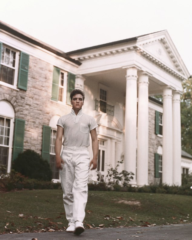 Elvis, pictured at Graceland in the late 1950s, bought the property for $102,500 when he was 22 years old in 1957