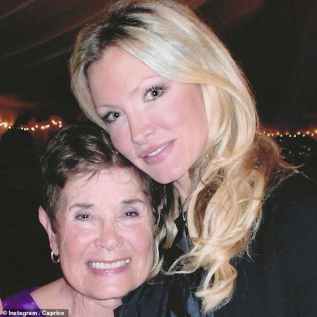 Heartbroken:Caprice has revealed that her beloved grandma, 91, has died of Covid, saying she will miss her 'with all my broken heart' (pictured together)