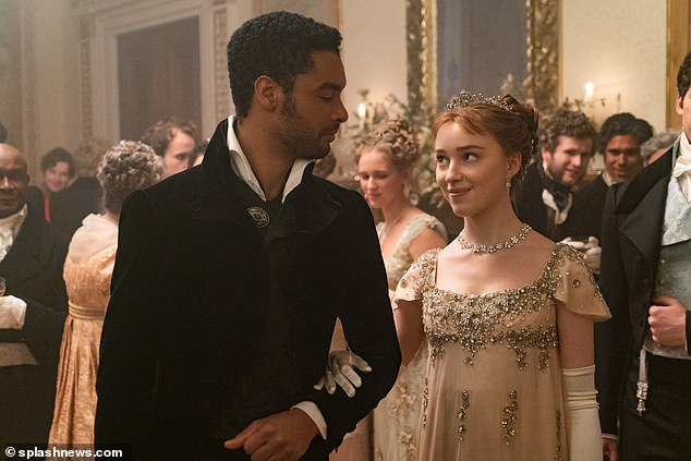 Period drama:The singer, 29, revealed that she has already binged all of Netflix hit Bridgerton and was looking for something similar to submerge herself into (picturedRege-Jean Page and Phoebe Dynevor star in Bridgerton)