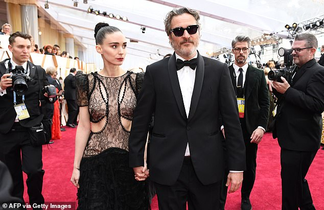 Time to themselves: Mara had previously taken an extended period of time to recuperate after the birth of her son River, whom she shares with her fiancee Joaquin Phoenix; the couple is seen together at the 92nd Academy Awards in 2020
