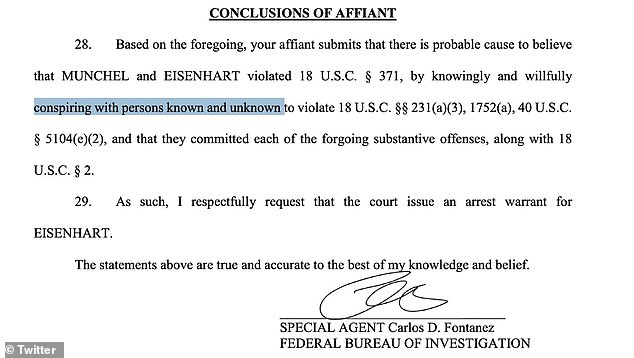 Munchel and Eisenhart aren't just being charged for their actions but also being charged with 'conspiracy' with 'persons known and unknown' to authorities