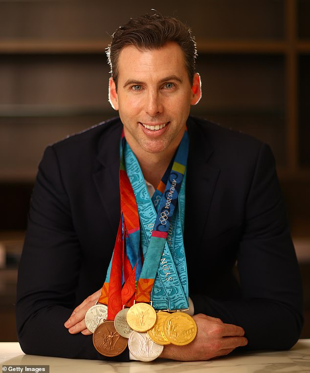 Legend: Australian swimming legend Grant Hackett won seven Olympic medals between 2000 and 2008 - three of which were gold