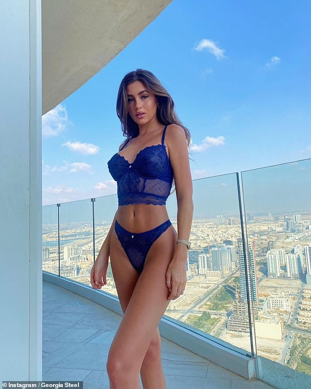 Lovely in lace:Before leaving Dubai, the patriotic beauty captioned a sexy snap: 'At the top of the chain wearing my favourites @bouxavenue the best lingerie ever to be made in London'