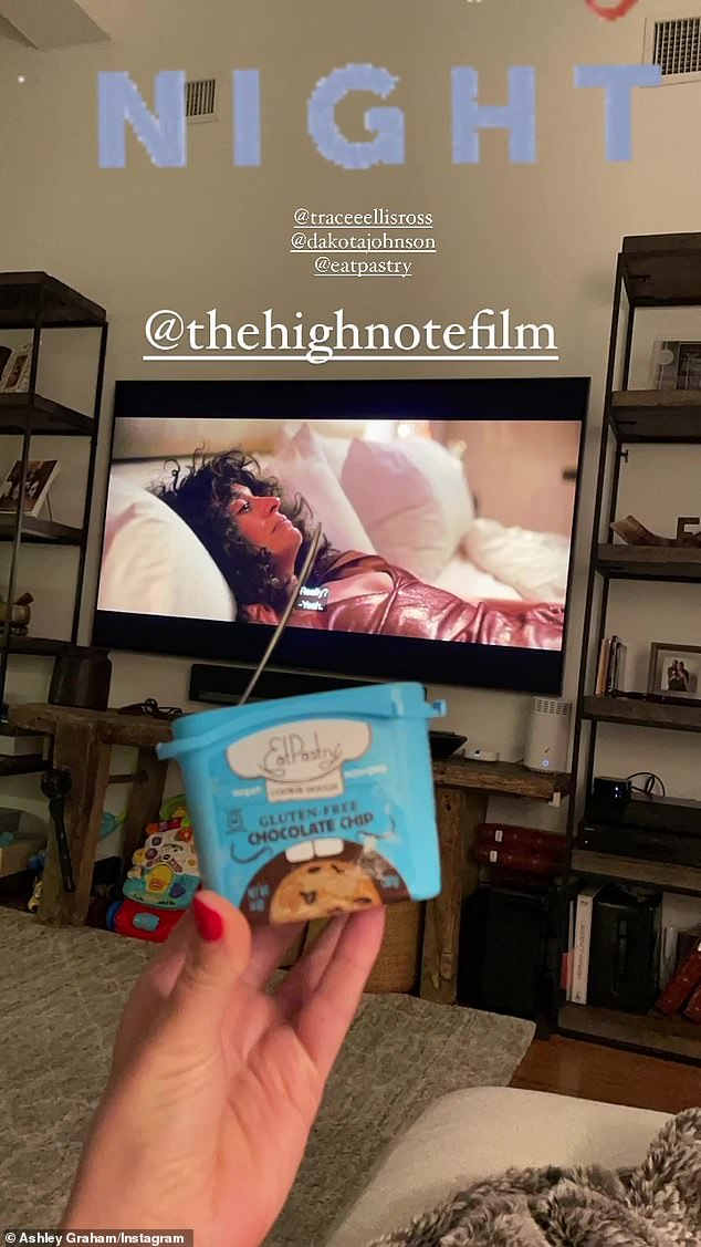Movie night: Later in the evening, she gave a peek at her plans, which included watching Dakota Johnson and Tracee Ellis Ross' film, The High Note, which was released in May, 2020
