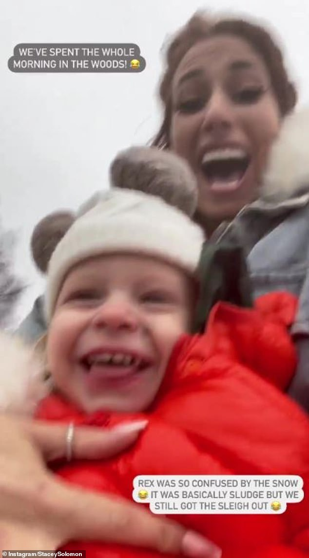 Fun! Stacey revealed the trio spent the whole morning in the woods and her 20-month-old son was 'confused' by the snow, but nevertheless loved riding in their bright red sleigh