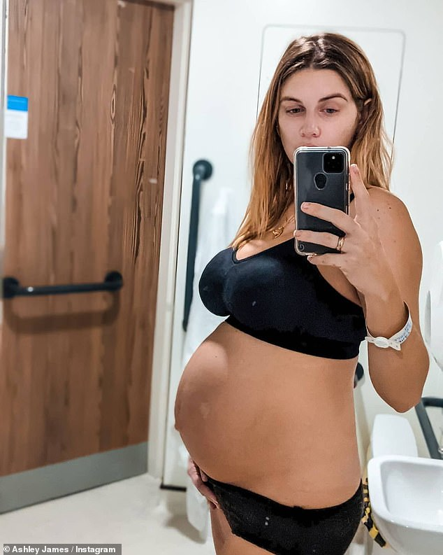 Wow!The new mother posted a series of images wearing a nursing bra and knickers, a couple of which were taken at the hospital hours after her labour (pictured hours after giving birth)