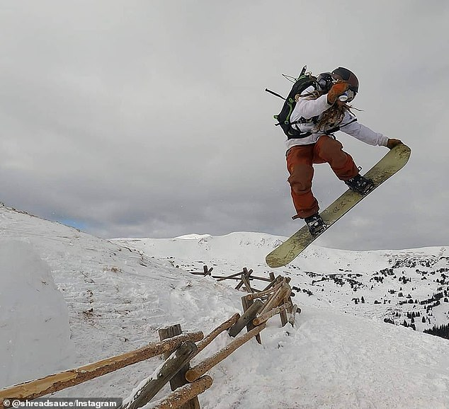 Kervin is pictured performing a jump on his snowboard in a picture from his Instagram page