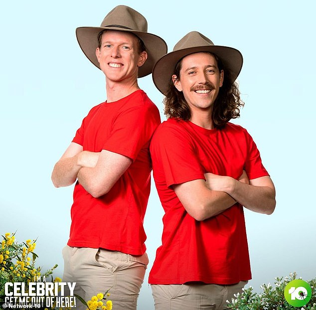 Latecomers: Gogglebox stars Adam Densten (left) and Symon Lovett (right) will head into the jungle on Monday's episode to compete for the $100,000 prize for their chosen charity