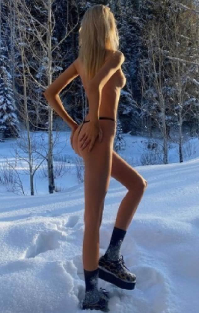 A bit nippy: It comes after she rang in the new year from the snowy locale of Aspen, sharing a risqué snap to Instagram