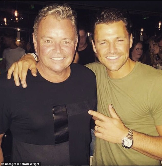Scary:Meanwhile, her husband Mark Wright, 33, recently revealed his father Mark Snr is still 'not completely better' following his coronavirus battle (pictured with his dad)