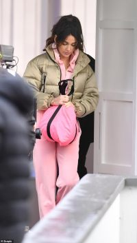 Michelle Keegan teams a tracksuit with a padded coat as she continues to film Brassic