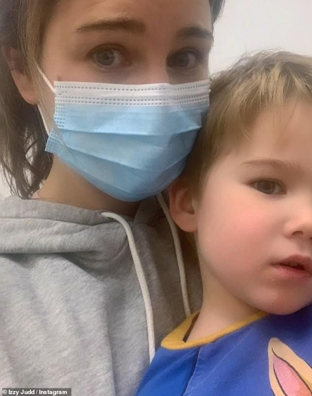 Hospital visit:Izzy Judd revealed on Friday she had to rush her son Kit to A&E after he reacted badly to his pre-school vaccine boosters as she praised the NHS for helping him