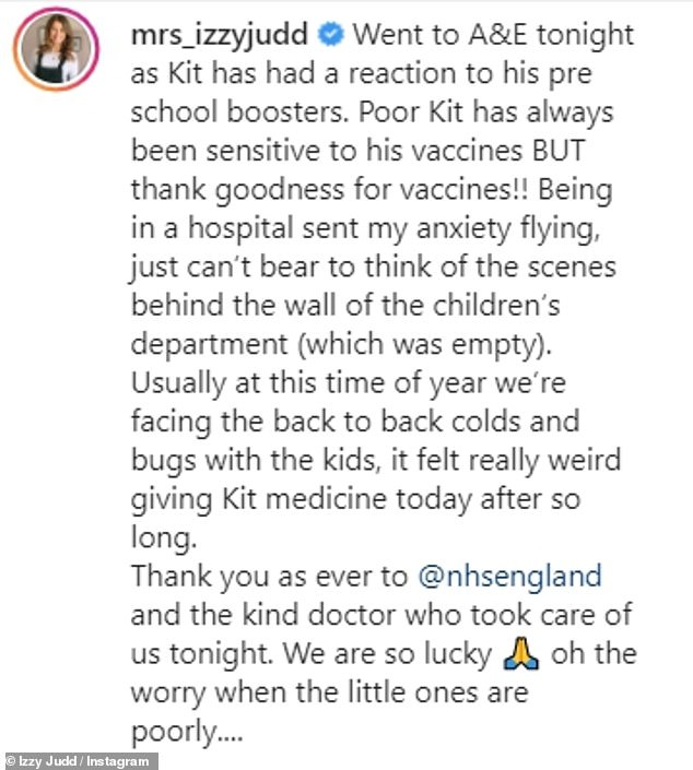 Grateful:Explaining what happened in the caption, Izzy admitted that being in hospital 'sent [her] anxiety flying' but she was grateful for the doctor who helped Kit