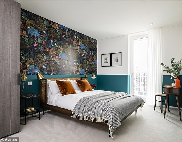 Selling on social media:The two-bedroom property in Battersea, south London, boast amenities including a designer kitchen with bespoke feature cupboards, state-of-the-art technology and access to a residents' garden and private gym. Pictured, a bedroom