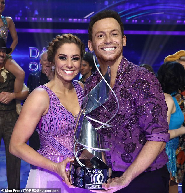 Daddy cool: Joe Swash made a brief cameo on Dancing On Ice on Sunday, after scooping the top prize last year. Pictured with his skating partner Alex Murphy