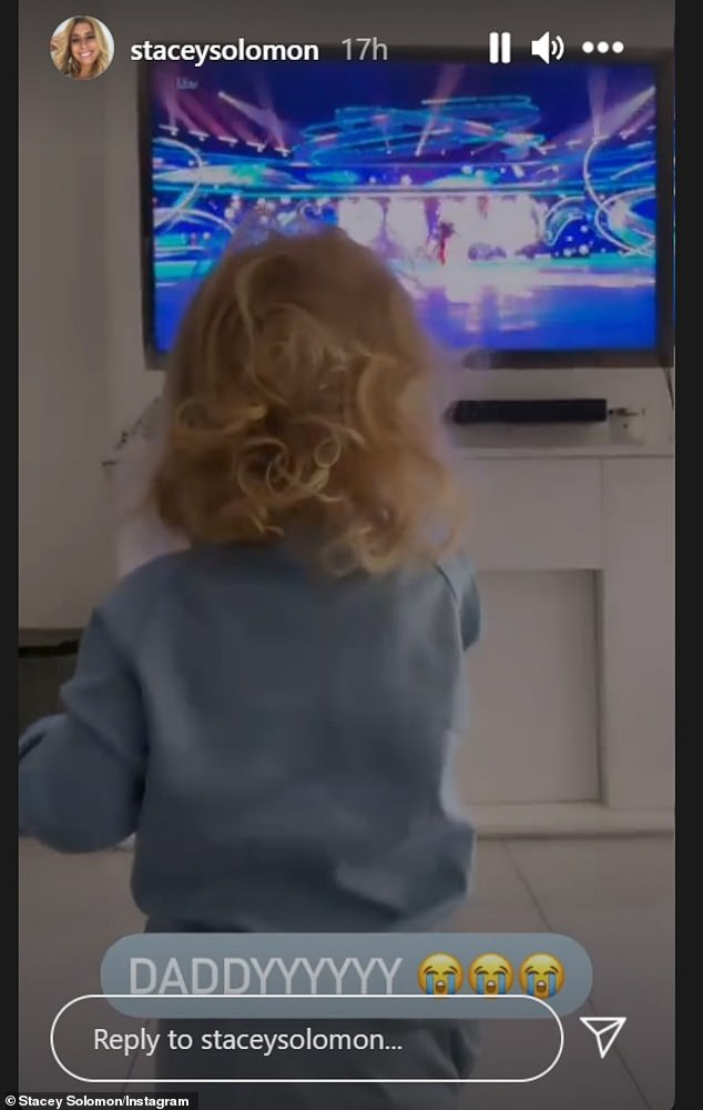 Home: Rex, 20 months, watched his dad on the TV from home with his TV personality mother