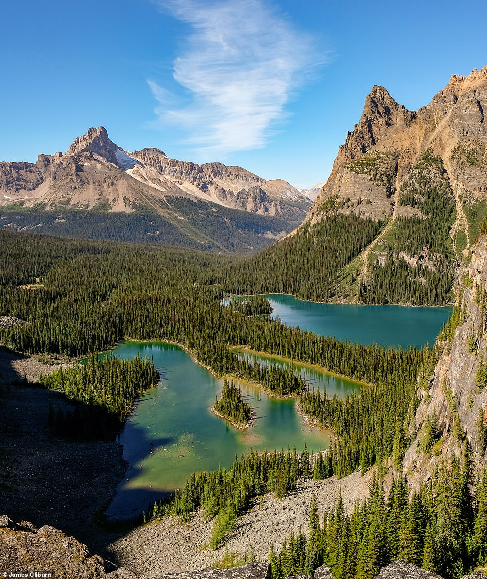 The incredible Lake O'Hara, which sits at an elevation of 7,217ft (2,200m) in Yoho National Park. According to James, it is 'one of British Columbia's most beautiful and well-kept areas'