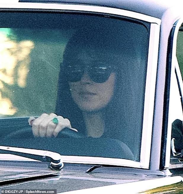 To be bride?  Dakota Johnson went on a campaign Saturday, in which she showed a huge emerald ring flashing on her arm amid rumors involving Chris Martin
