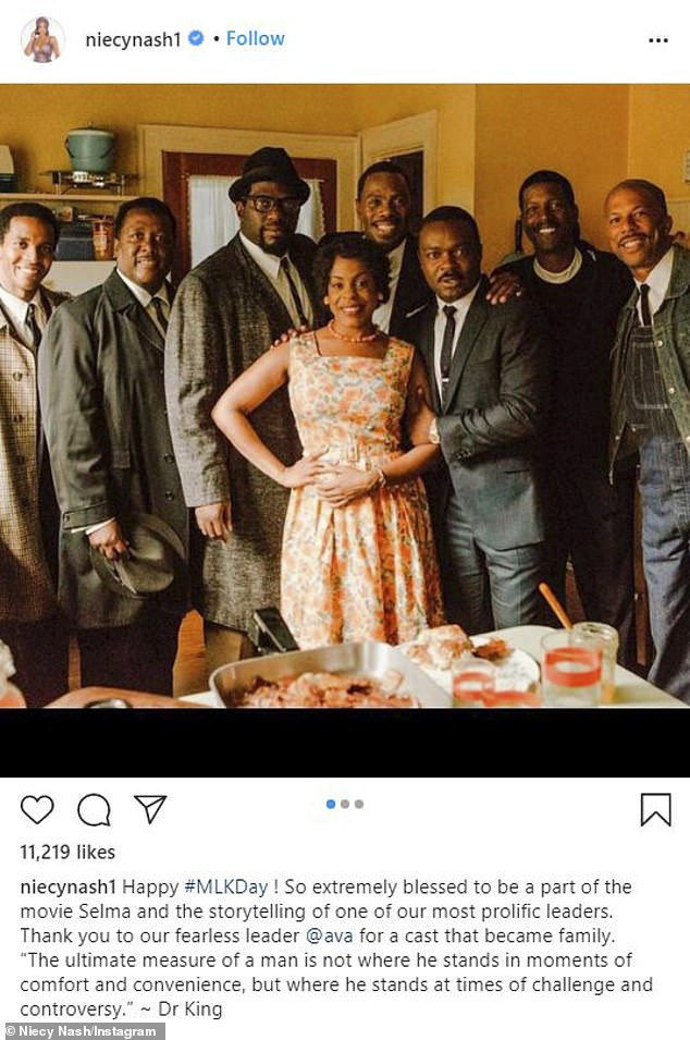 Feels right: Niecy Nash said she was blessed to be a part of the movie Selma as she added a MLK quote