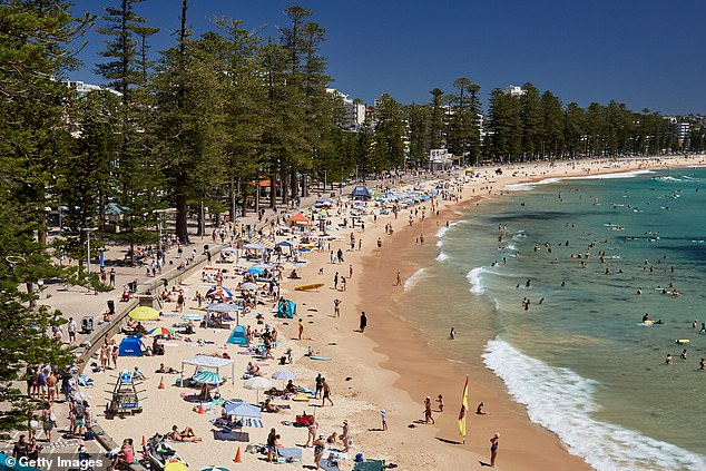 Sydney will experience four consecutive days of temperatures of 30C and above starting from Friday. Pictured, Manly Beach