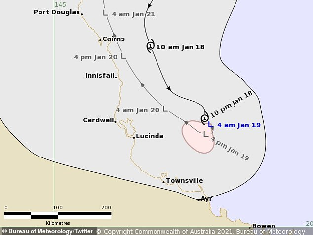'Cyclone Kimi has weakened into a tropical low off the north Queensland coast. Significant impacts on the coast are no longer expected, although heavy rainfall remains a possibility,' the Bureau of Meteorology said