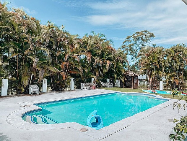 Impressive: The home, known as La Casa Grande, features four bedrooms and a swimming pool and is being renovated in keeping with it's Spanish style. Pictured is the before and after of the pool