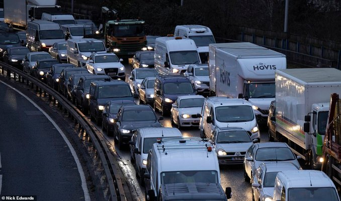 Heavy traffic on the Blackwall Tunnel southern approach road in South East London this morning