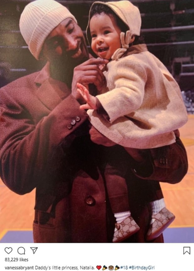'Daddy's Little Princess': Taking to Instagram, he also posted a cute photo of Kobe holding a young Natalia in his arms, which he captioned:' Daddy's Little Princess, Natalia.  18 18 # 18 #BirthdayGirl.  '