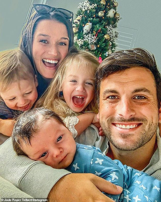 December 24 family portrait: Roperand the Missouri-born 33-year-old share three children - daughter Emerson Avery, 3; son Brooks Easton, 18 months; and son Reed Harrison, 2 months
