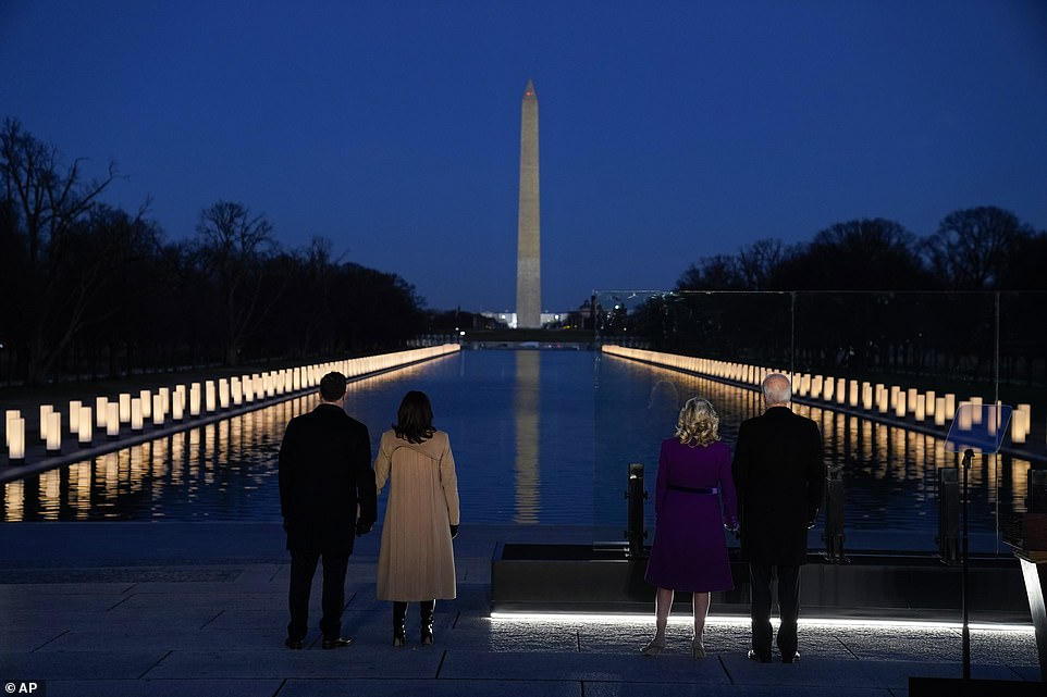 400 lights around the Reflecting Pool were illuminated to pay tribute to the 400,000-plus Americans who have now lost their lives to COVID-19